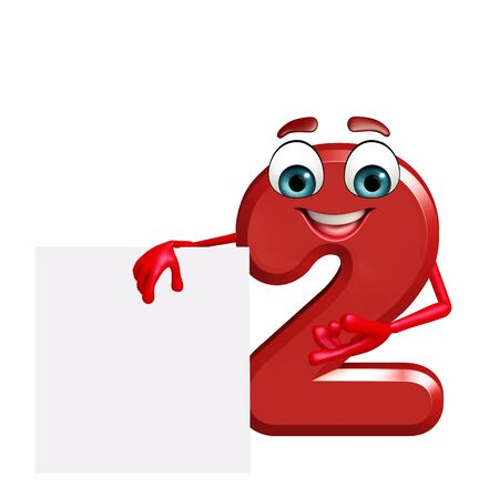 two dimensional shape: 3d rendered illustration of cartoon character of two digit with sign Stock Photo