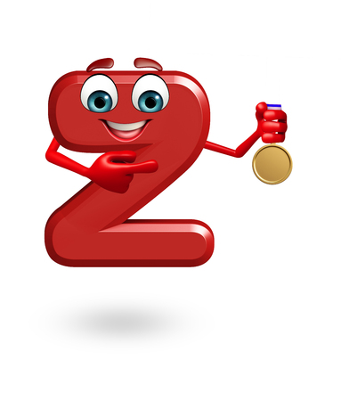 3d rendered illustration of alphabet Z Cartoon Character with medal Stock Illustration - 45373504