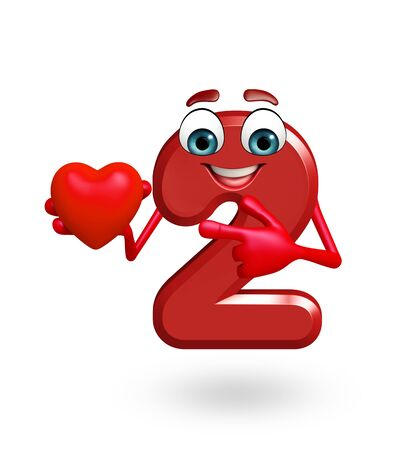 two dimensional shape: 3d rendered illustration of cartoon character of two digit with heart shape