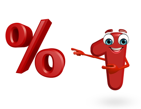 percentage sign: 3d rendered illustration of cartoon character of one digit with percentage sign Stock Photo