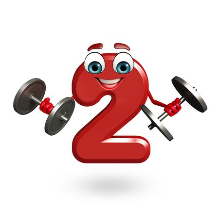 two dimensional shape: 3d rendered illustration of cartoon character of two digit with weights