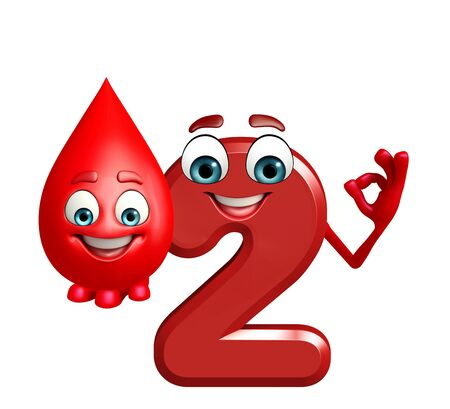 two dimensional shape: 3d rendered illustration of cartoon character of two digit with blood drop Stock Photo