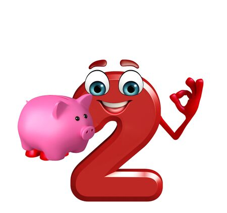 3d rendered illustration of cartoon character of two digit with piggy bank Stock Photo