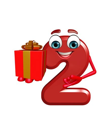 two dimensional shape: 3d rendered illustration of cartoon character of two digit with gift box Stock Photo