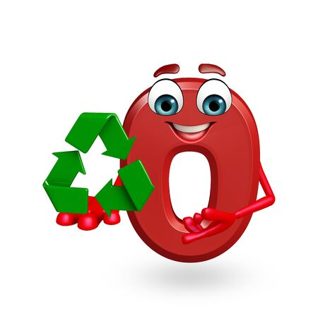 3d rendered illustration of Cartoon character of zero digit with recycling icon Stock Photo
