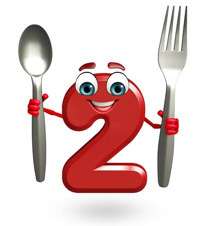 two dimensional shape: 3d rendered illustration of cartoon character of two digit with spoon Stock Photo
