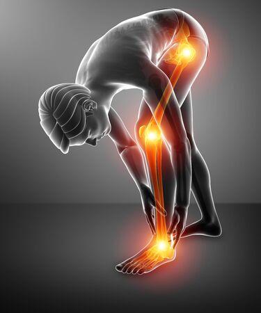 3d Illustration of Pain in leg