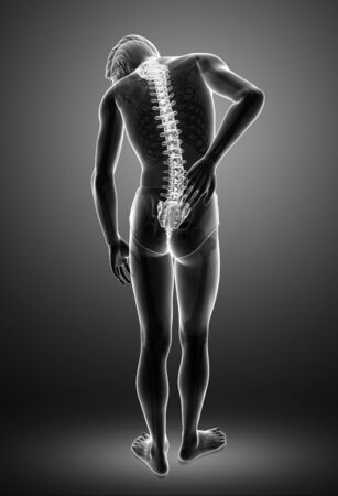 orthopedics: 3D Illustration of male Feeling the back pain