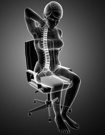 hilight: 3d Illustration of Women Feeling the Back pain Stock Photo