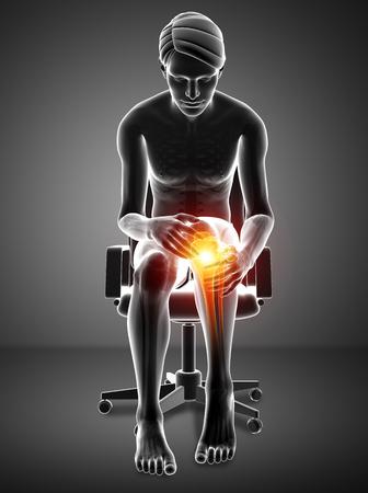 3d ilustración de dolor de rodilla masculina Foto de archivo