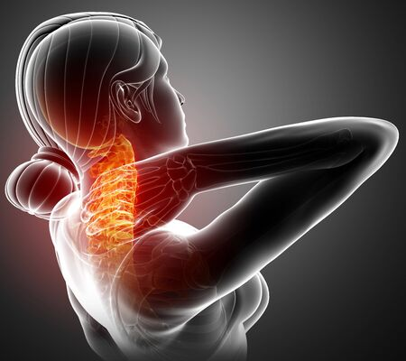 one person only: 3d Illustration of Women Feeling the Neck Pain