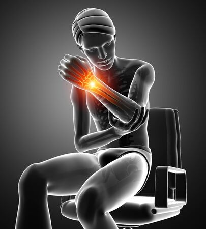 one person only: 3d Illustration of Men Feeling the Wrist Pain