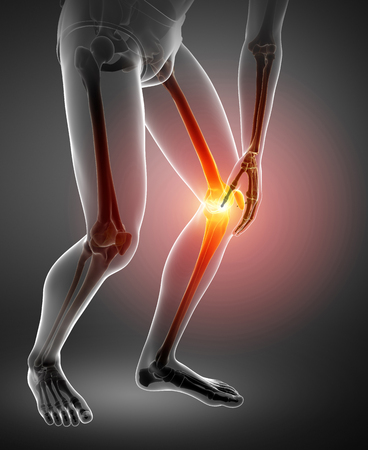 conscious: 3d Illustration of Male Knee pain