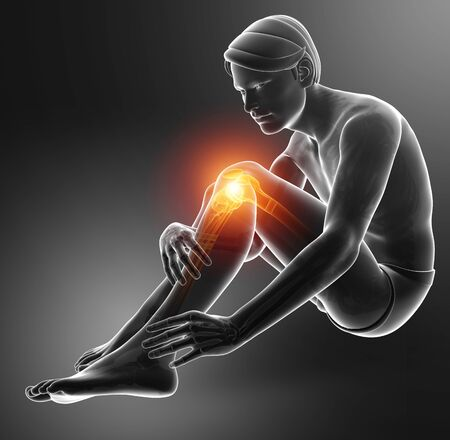 3d Illustration of Male Knee pain
