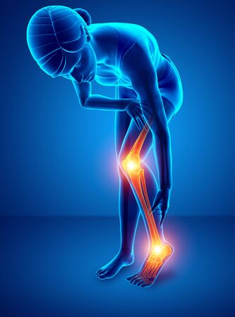 3d illustration of Pain in leg Stock Photo