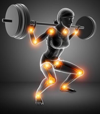 3d Illustration of Women  joint pain