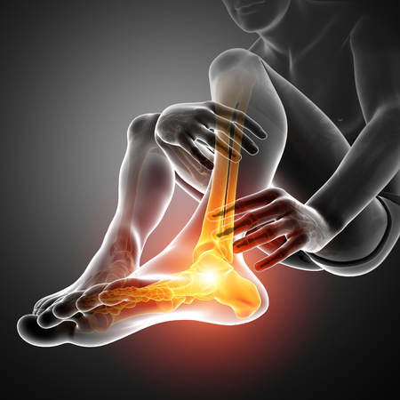 conscious: 3d Illustration of Male foot with ankle pain Stock Photo