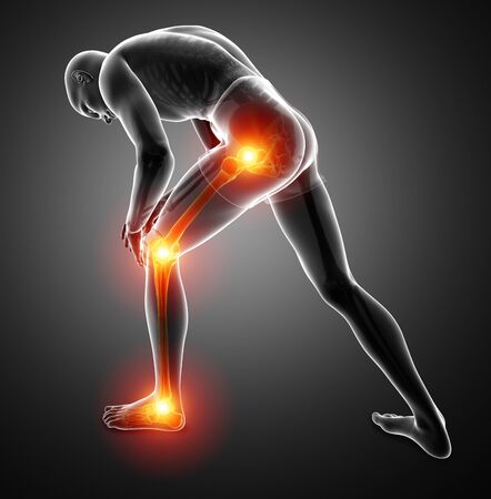 3d Illustration of Male Leg Joint Pain Stock Photo