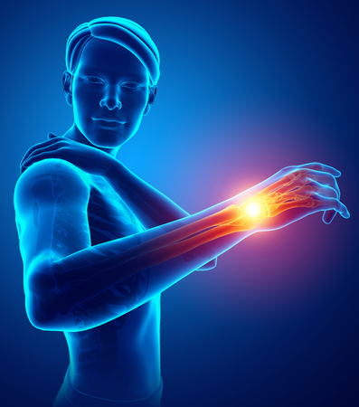 3d Illustration of Male Feeling the Shoulder Pain Stock Photo