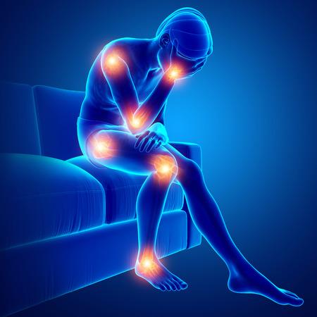 男性関節痛の 3 d イラストレーション