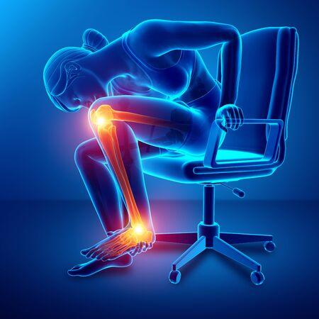 3d illustration of Pain in leg Stock Photo