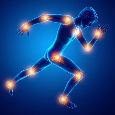 3D-Darstellung von männlichen Gelenkschmerzen Standard-Bild - 71396278