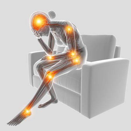 Ilustración 3D de mujeres con dolor en las articulaciones