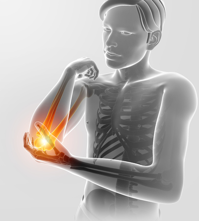 3d Illustration of Male Feeling Elbow pain
