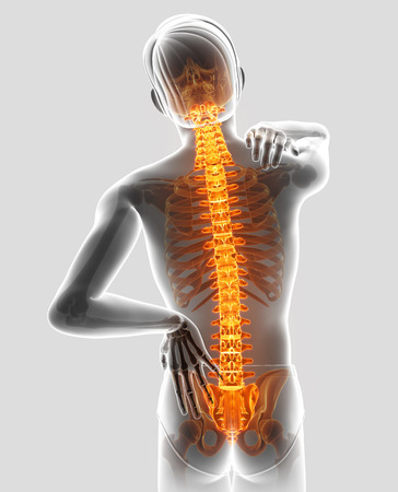 3D Illustration of male Feeling the back pain
