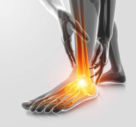 3D-afbeelding van mannelijke voet enkelpijn Stockfoto