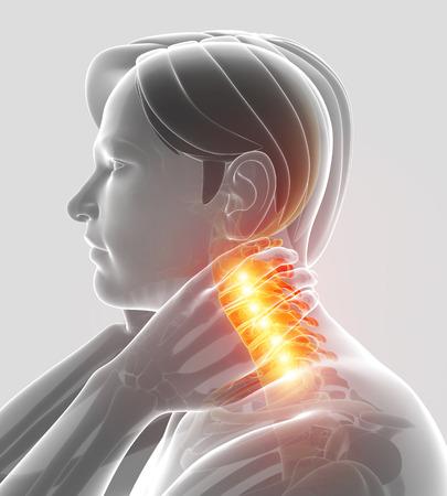 man back pain: 3d Illustration of men Feeling the Neck Pain