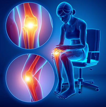 3d Illustration of Female feeling Knee pain