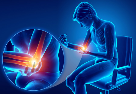 3d Illustration of Male Feeling Elbow pain