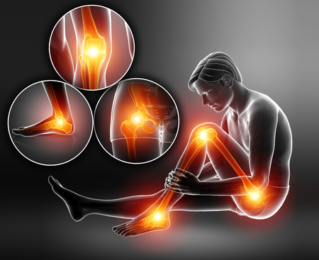 3d Illustration of male feeling Leg pain Banco de Imagens