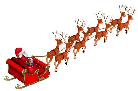 L'illustration 3D du Père Noël chevauche un traîneau à rennes