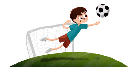 stopping: Illustration of a child stopping a goal in a goal playing football. It is doing sport at night. The ball flies into His hands. Stock Photo
