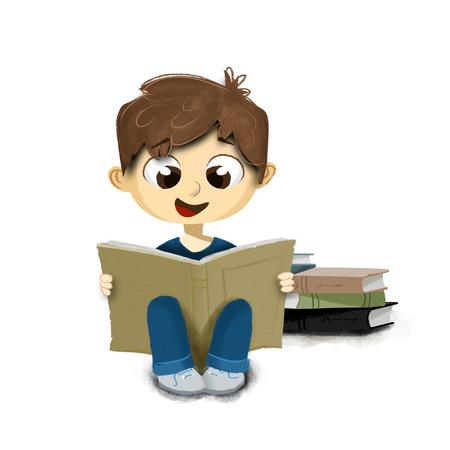 child sitting: Child sitting on the floor reading book with white background Stock Photo
