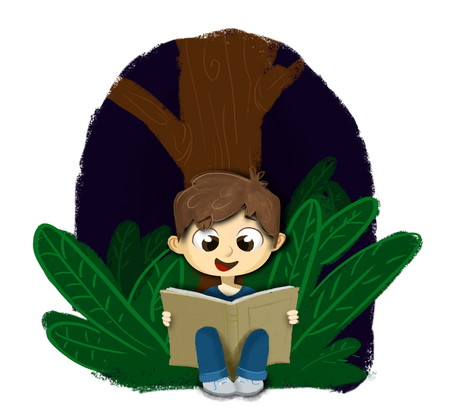 have fun: Boy sitting reading a book at night in the forest holding hands. I is happy and having fun while learning. Learn and have fun
