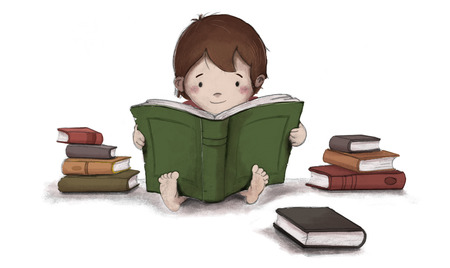 Drawing of child reading a book sitting on the floor. Isolated white background and is surrounded by several books. It is Enters Concentrated and entertained while reading or learning.