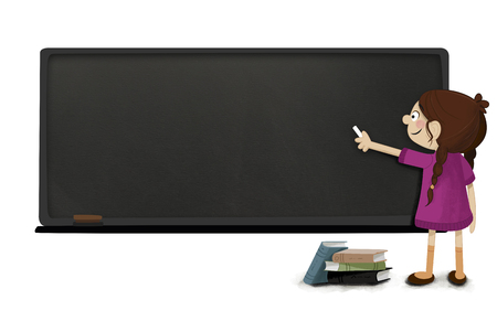 lecture hall: Girl with chalk in hand writing on a blackboard. Class at school. Concept poster or notice where to write something That catches attention