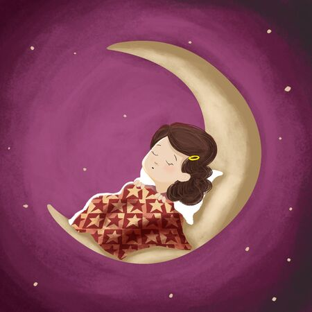 woman sleep: Drawing of a girl Who is sleeping or dreaming on the moon. It is night and the sky is starry. Illustration.