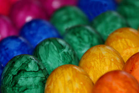 Many Colorful Easter Eggs in red,yellow photo