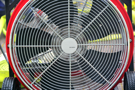 Industrial ventilator fan for firefighters to blow in the house