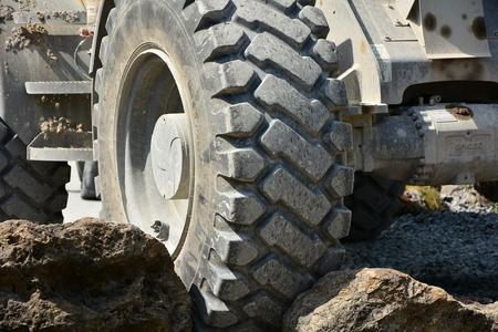 large tires of a large wheel loader photo