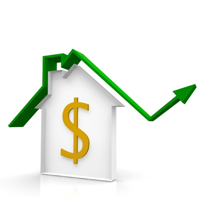 house arrow up and dollar symbol Stock Photo - 20162778