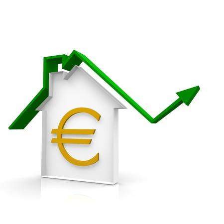 house arrow up and euro symbol Stock Photo - 20162720