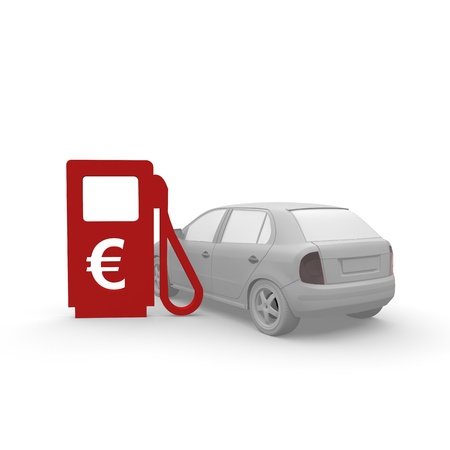 distributore di benzina con auto e il simbolo dell'euro photo