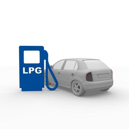 l p g: Estaci�n de gas GLP con el coche
