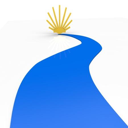 青のパス上のシェル 写真素材