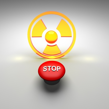 nuke plant: radioactive with stop button Stock Photo